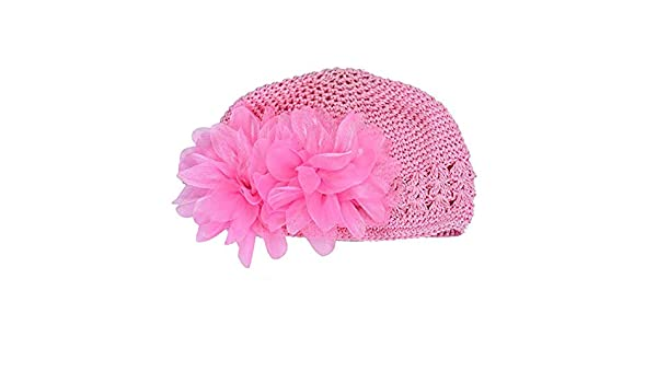 Baby GirlsToddler Flower Lace Headband Hair Band Headwear Beanie Hat 3 Colors