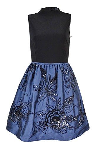 - Adrianna Papell Women's Beaded Taffeta Jersey Dress (8, Black/Navy)
