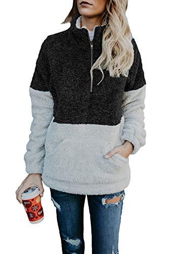 HSRKB Womens Sweatshirts Fall Fleece Jackets Sherpa Pullover Winter Coats with - Fleece Quarter Zip Pullover