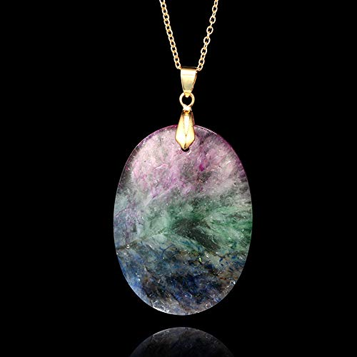 Geetobby Natural Crystal Rock Necklace for Women Gold Plated Quartz Pendant Necklace for Girls Rainbow Stone Necklace Chain by Geetobby Necklaces & Pendants (Image #3)