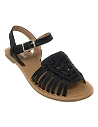 Soda Festival Mexican Huarache Ankle Strap Vegan Leather Boho Sandal (8, Black)