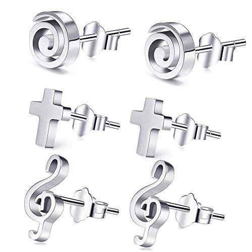3Pairs Popular Stud Earrings(Spiral, Music Note, Cross), Cat Eye Jewels 316L Surgical Stainless Steel Silver Ear Rings Circle Sign Stud Earrings