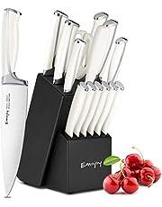 Emojoy Ensemble de Couteaux, 15 pièces Bloc de Couteaux de Cuisine avec Bloc, poignée en ABS pour Lot de Couteaux de Cuisine, Acier Inoxydable Allemand
