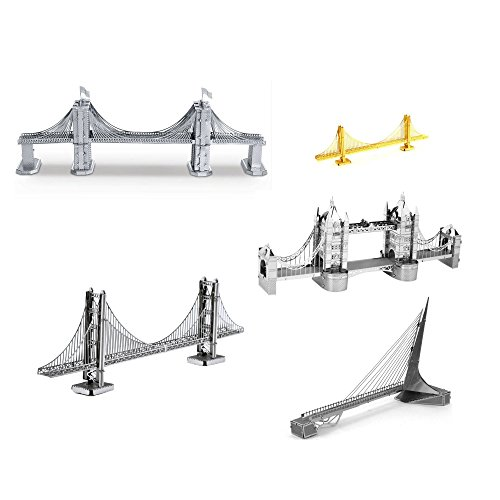 Set of 5 Metal Earth 3D Laser Cut Bridge Models: Brooklyn Bridge, Sundial Bridge, Gold Rare Earth Golden Gate Bridge, Silver Golden Gate Bridge, & London Tower Bridge
