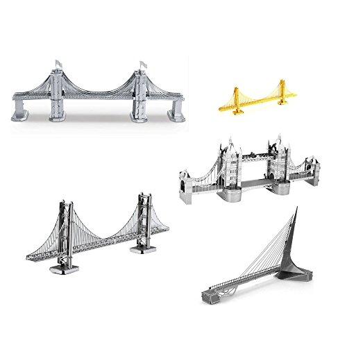 London Tower Bridge - Set of 5 Metal Earth 3D Laser Cut Bridge Models: Brooklyn Bridge, Sundial Bridge, Gold Rare Earth Golden Gate Bridge, Silver Golden Gate Bridge, & London Tower Bridge