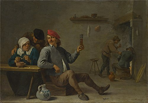 Micro Innovations Lightweight Headset (Oil Painting 'David Teniers The Younger - A Man Holding A Glass, An Old Woman Lighting A Pipe,about 1645' 16 x 23 inch / 41 x 58 cm , on High Definition HD canvas prints, Basement, Dining Room decor)