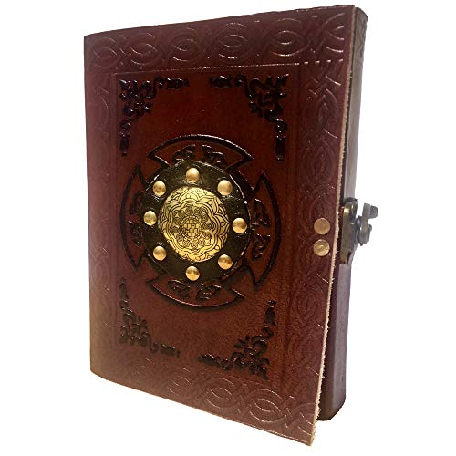 - Medieval Leather Journal with Metal Embossing and Buckle Closure || Celtic Design || Book of Shadows || Thick Unlined Paper || Best Gift for him her (7x5) - Modest Goods
