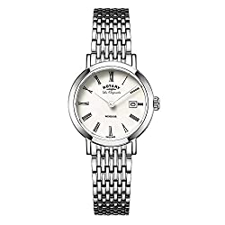 Rotary Watches Women's Swiss Windsor Mother of Pearl Dial Stainless Steel Bracelet Watch LB90153/07