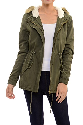 Womens Faux Fur Hoodie Sherpa Lined Military Safari Utility Fashion Parka Jacket Olive Green 1XL (Hooded Parka Fur)