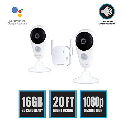 Night Owl Security 4 Channel 1080p HD Wireless Gateway with 16GB microSD Card and 2 Indoor Cameras, White (WG4-2I-16SD-B) - Channel Gateway