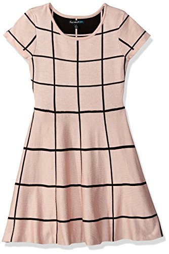 My Michelle Big Girls' Short Sleeve Dress with Black and White Window Pane Pattern, New Blush/Black, M (Michelle Clothes My)