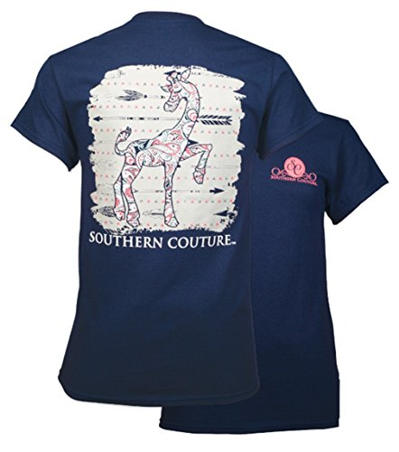 Southern Couture SC Classic Gigi Giraffe Womens Classic Fit T-Shirt – Navy, Large