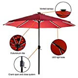 Garden Art Patio Umbrella 9 FT Solar Powered with USB Charging Function 8 Ribs (Red)