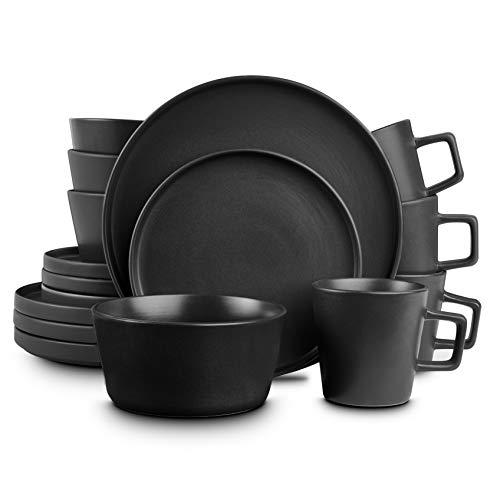 Stone Lain Coupe Dinnerware Set, Service For 4, Black Matte