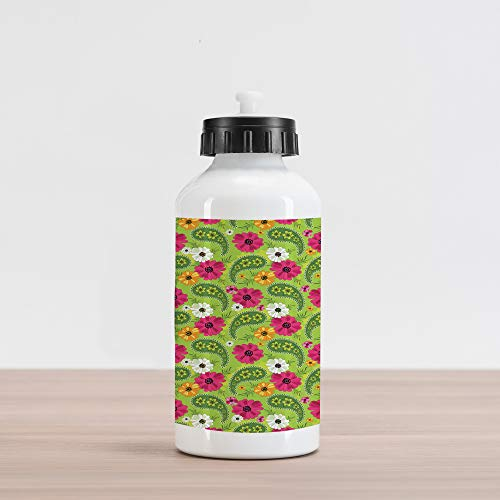 uminum Water Bottle, Floral Pattern with Vivid Paisley Print Old Vintage Boho Style Print, Aluminum Insulated Spill-Proof Travel Sports Water Bottle, Pistachio Pink Orange ()