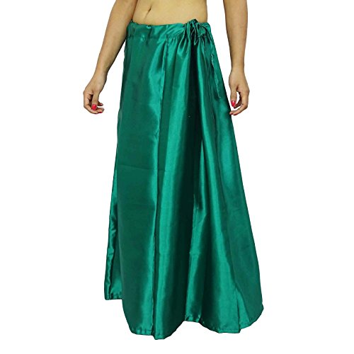 Sólido de la enagua de satén de seda Inskirt Bollywood Forro para las mujeres Sari desgaste Teal verde