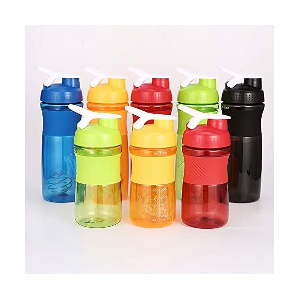 Frabble8 Protein Shaker Blender Bottle for Whey Protein Mix, Cycling Gym Water Bottle with Stainless Steel Spring Mixer… 2021 August MULTIPURPOSE DURABLE & LIGHT WEIGHT : Our Water Bottle Is Made From Durable Food Grade Plastic, both inside and out. The stylish protein shaker bottle 760ml is BPA free, durable and easy to carry to gym, yoga and to outdoor sports. SPILL PROOF & EASY TO CARRY ON THE GO: Spill Proof Lid Keeps your drink safely inside, and the leak proof bottle shape allows the bottle to easily fit into your cup holder! Plus, your fingers stay dry FOR SHAKE AND OTHER DRINKS :The shaker bottle with a storage for smoothies, scrambled eggs and meals is a perfect companion for running, jogging, camping, yoga, gym and other outdoor sports.