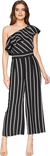 Shelli Segal Stripe - Laundry by Shelli Segal Women's One Shoulder Stripe Jumpsuit with Pockets Black 12