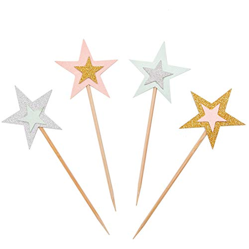 WSSROGY 40Pcs Colorful Twinkle Star Cake Topper Cupcake Picks Birthday Party ()