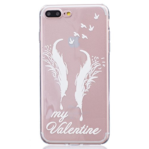 iPhone 7 Plus Case,Speedup [Ultra Thin] [Scratch-Resistant] Clear Soft TPU Gel Skin Case,Cute Cartoon Dolphin Penguin Flower Fairy Print Silicone Case for iPhone 7 Plus (White Feathers My Valentine)