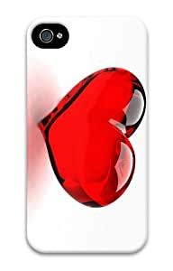 cover wholesale Red Glossy Heart PC Case for iphone 4/4S