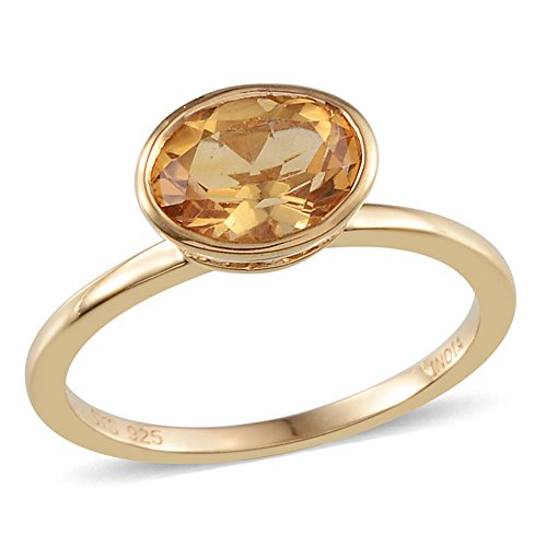 Citrine Yellow Gold Plated Silver Ring For Women 0.6 cttw Size 7 by Shop LC