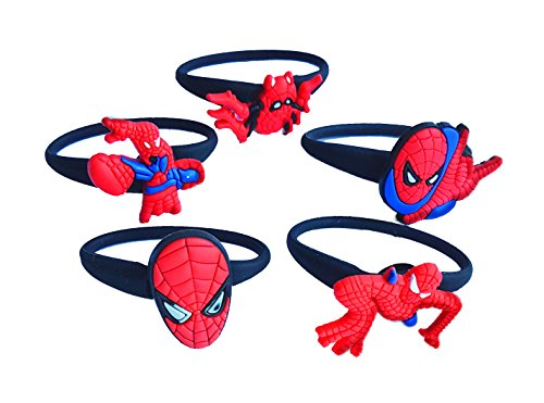 Shocker Spider Man Costume (AVIRGO 5 pcs Releasable Ponytail Holder Elastic Rubber Stretchable No-slip Hair Tie Set Set # 121 - 6)