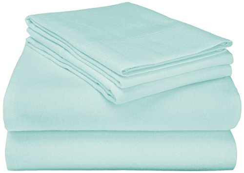 Superior Premium Cotton Flannel Sheets, All Season 100% Brushed Cotton Flannel Bedding, 4-Piece Sheet Set with Deep Fitting Pockets - Light Blue Solid, California King Bed (Hello Kitty Fabric Flannel)