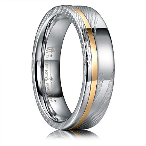 THREE KEYS JEWELRY 6mm Damascus Steel Mens Wedding Ring Domed Silver Wood Grain Rose Gold Offset Inlay Wedding Band Engagement Ring Size 5