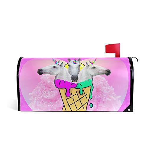 WIHVE Mailbox Cover Triple Unicorns Ice Cream Magnetic Post Box Cover Wrap Home Decoration