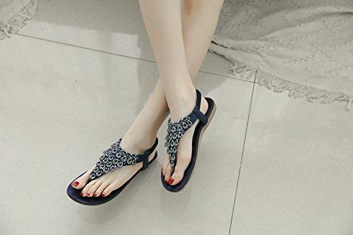 Ruiren Sandalias Bohemias Para Las Mujeres, Zapatos Planos de Las Sandalias de Las Sandalias del Poste de La Playa del Verano Para Las Señoras Azul