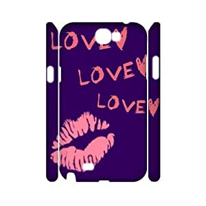 DIY Painting Red lip Art 3D Phone Case, DIY 3D Case Cover for samsung galaxy note 2 n7100 with Painting Red lip Art (Pattern-4)