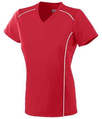 Soccer Jersey Custom V-neck (Augusta Sportswear Ladies Winning Streak V-Neck Jersey, Red/White, X-Large)
