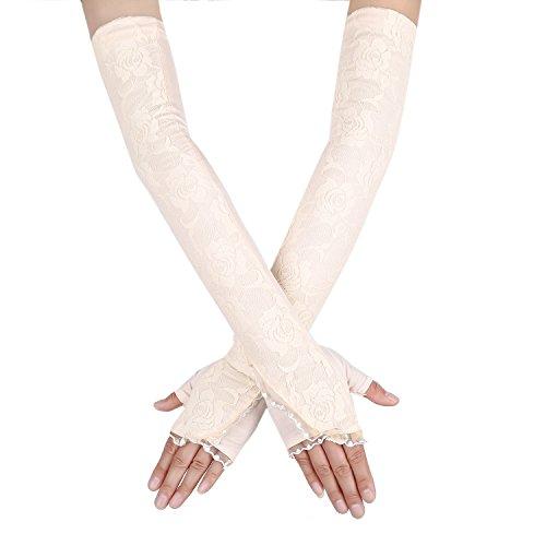 JISEN Women Long Lace Floral Half Finger Sunscreen Arm Sleeves outdoor Gloves Style 1-Beige