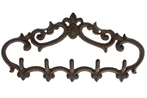 Comfify Cast Iron Wall Hanger  Vintage Design with 5 Hooks - Keys, Towels, etc - Wall Mounted, Metal, Heavy Duty, Rustic, Vintage, Decorative Gift Idea - 12.9x 6.1
