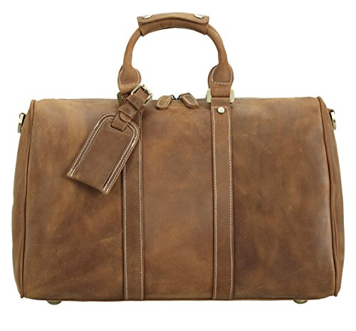 Polare Full Grain Leather Classic Duffel Bag Travel Gym Weekend Bag 17.3'' by Polare (Image #7)