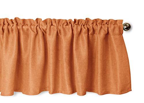 (Aiking Home Pure 100% Faux Linen Window Valance - Size 56 inch x 16 inch, Pumpkin )