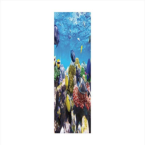 (Decorative Window Film,No Glue Frosted Privacy Film,Stained Glass Door Film,Tropical Corals Fish School Natural Life in Shallow Underwater Marine Seascape Image,for Home & Office,23.6In. by 59In Multi)