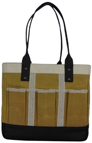 1417f7c33 Image Unavailable. Image not available for. Color: LadyBagsSF Urban Garden Tote  Bag, Yellow, White and Black