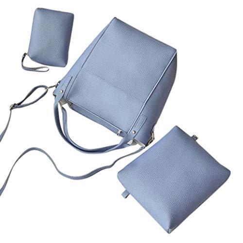 5ffcb39af46a KFSO 4PCs Women Litchi Pattern Leather The New Work Bag Handbag+Crossbody  Bag+Messenger Bag+Card Package (Blue)