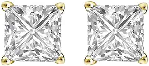 5d5511ad9 14K Yellow Gold Plated Cz Ear Studs Princess Shape Cubic Zirconia Solitaire  Earrings For Mother's Day