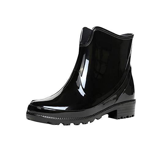 HYIRI New Classic Short Water Boots ,Women's Chelsea Boots Outdoor Anti Slip Waterproof Rain Boots Black