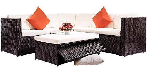 Amazon.com : Merax 4 Piece Cushioned Outdoor Patio PE