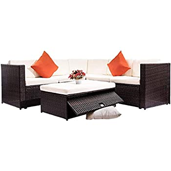Amazon Com Merax 4 Piece Cushioned Outdoor Patio Pe