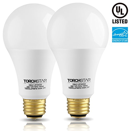 3-Way 40/60/100W Equivalent LED A21 Light Bulb, ENERGY STAR + UL-listed,5000K Daylight, E26 Medium Screw Base, for Table Lamp, Bedside Lamp, Pack of 2