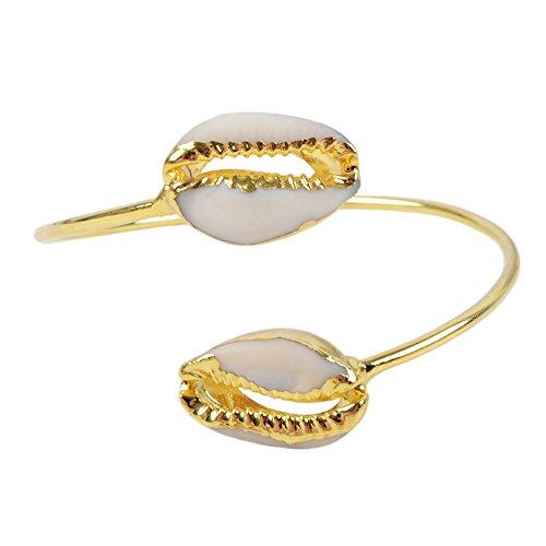 Bangles Bangle Shell (ZENGORI 1pcs Handmade Gold Plated Double Shell Adjustable Bangle Bracelet)