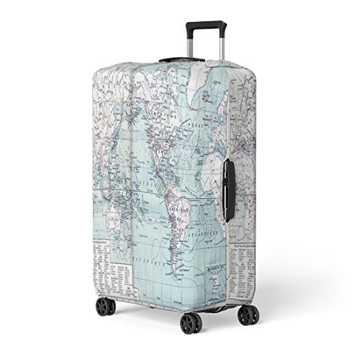 Pinbeam Luggage Cover Map Showing Active Volcanoes Across Asia Europe Africa Travel Suitcase Cover Protector Baggage Case Fits 26-28 inches