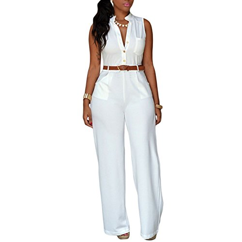 Queenlife Women Vintage Playsuit Wide Leg Loose Pants Jumpsuit Romper with Belt (XL, (All White Party Outfits Men)