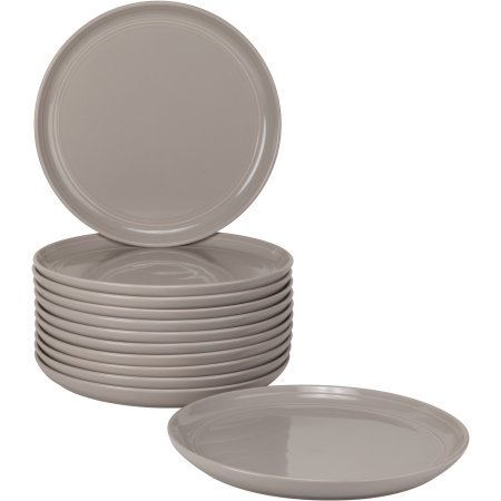 8.25'' Modern Versatile Stoneware Ceramic Salad/Dessert Dining Plates, Double Line Design Catering Pack, Set of 12 (Gray) by 10 Strawberry Street