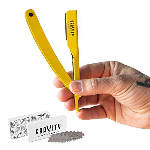 Barber Straight Razor - Stainless Steel Straight Razor Kit with 10 Derby Premium Blades (Yellow)
